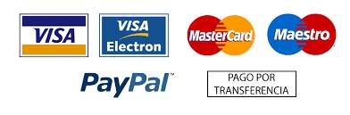 Pago seguro por Paypal, tarjeta de crédito, transferencia y contra reembolso